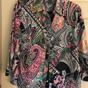 Ralph Lauren blouse. Size large. Pink/navy/white